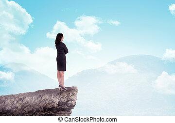 reputacja, góra, kobieta handlowa, górny, asian