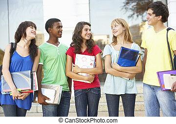 reputacja, gmach, teenage, grupa, studenci, zewnątrz, kolegium