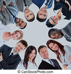 reputacja, grupa, handlowy, nagromadzić, ludzie, uśmiechanie się, nisko kątek, prospekt.