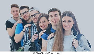 reputacja, grupa, ludzie, młody, togethe, szczęśliwy
