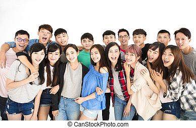 reputacja, grupa, młody, razem, student, szczęśliwy