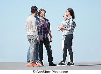 reputacja, grupa, studenci, mówiąc, znowu, outdoors