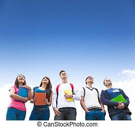 reputacja, grupa, studenci, młody, razem, szczęśliwy