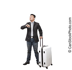 reputacja, handlowy, bagaż, lekki, wschód, pilnowanie, odizolowany, ręka, patrząc, podróżowanie, tło, biały, człowiek
