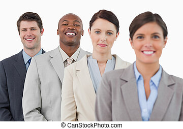 reputacja, handlowy, razem, zaufany, drużyna, uśmiechanie się