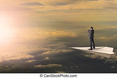 reputacja, handlowy, szpiegowanie, słońce, obuoczny, przeciw, samolot, powstanie, papet, eskapada, na, chmura, człowiek