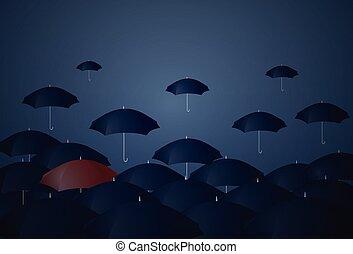 reputacja, indywidualność, pojęcie, parasol, tłum, czerwony, poza