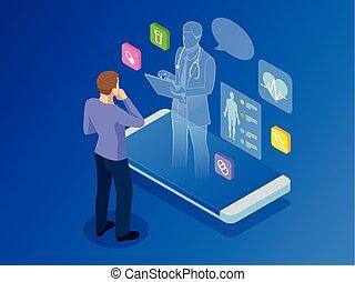 reputacja, isometric, pojęcie, doktor, online, dobrany, app, otoczony, icons., healthcare, telefon, diagnostyka, konsultacja, zdrowie, cyfrowy, innowacyjny, technologia, medyczny, smartphone.
