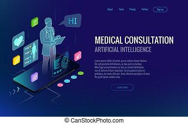 reputacja, isometric, pojęcie, technology., doktor, online, dobrany, app, otoczony, icons., healthcare, telefon, diagnostyka, konsultacja, zdrowie, cyfrowy, innowacyjny, medyczny, smartphone.