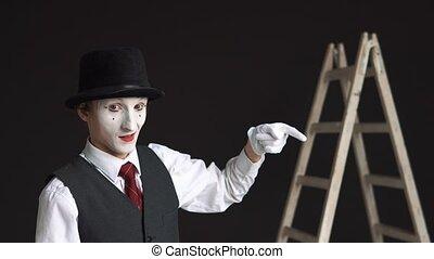 reputacja, kariera, pojęcie, handlowy, drabina, nime, do góry, tło., czarnoskóry, kciuki, na dół., pokaz, człowiek