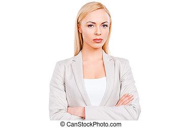 reputacja, keeping, dojrzały, kobieta interesu, businesswoman., herb, przeciw, zaufany, znowu, krzyżowany, tło, biały