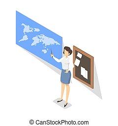 reputacja, klasa, geografia, nauczyciel, tablica