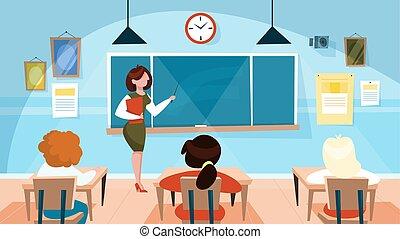 reputacja, klasa, tablica, nauczyciel
