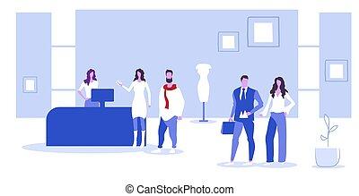 reputacja, klientela, pojęcie, ludzie, cielna, butik, kantor, rys, gotówka, sprzedaż, długość, pełny, wybierając, biurko, wewnętrzny, poziomy, fason, odzież