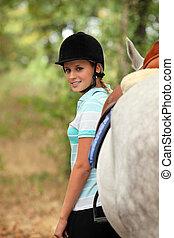 reputacja, koń, kobieta, jej, następny