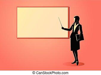 reputacja, kobieta, figura, whiteboard