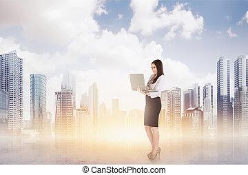 reputacja, kobieta handlowa, laptop, znowu, pociągający, używając, asian