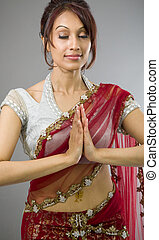 reputacja, kobieta, młody, indianin, modlitwa położenie