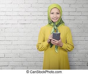 reputacja, kobieta, muslim, znowu, smartphone, asian, używając