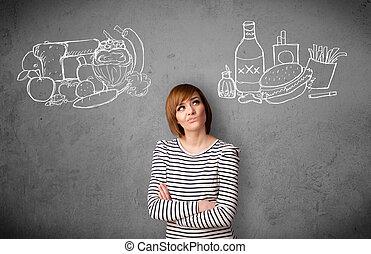 reputacja, kobieta, niezdrowy, zdrowy, pokarmy, między