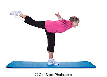 reputacja, kobieta, noga, wykonując, jeden, senior