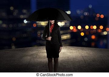 reputacja, kobieta, poddasze, handlowy, dzierżawa parasol