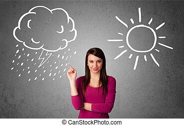 reputacja, kobieta, słońce, deszcz, między, rysunek