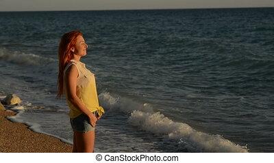 reputacja, kobieta, skalisty, przelotny, młody, włosy, adriatyk, plaża
