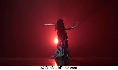 reputacja, kobieta, stage., taniec, taniec, wstecz, ruch, ...