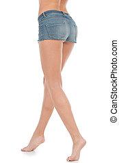 reputacja, kobieta, szorty, shorts., dżinsy, młody, odizolowany, biały, prospekt, tylny, kobiety