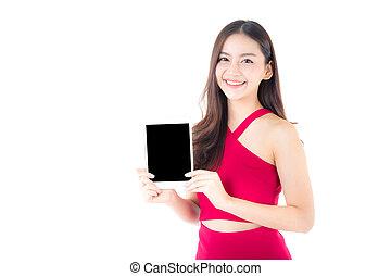 reputacja, kobieta, tabliczka, pokaz, młody, odizolowany, tło., asian, czysty, portret, biały strój, ekran, czerwony