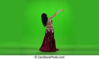 reputacja, kobieta taniec, wstecz, dance., ruch, tło., powolny, zielony, brzuch
