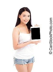 reputacja, kobieta, technologia, tabliczka, komunikacja, pokaz, młody, odizolowany, handlowy, tło, asian, okienko osłaniają, portret, dziewczyna, concept., biały