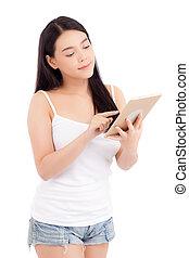 reputacja, kobieta, technologia, tabliczka, komunikacja, pokaz, młody, odizolowany, handlowy, dziewczyna, tło, asian, czysty, dotyk, portret, biały, concept., ekran