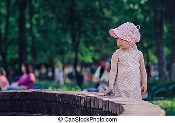 reputacja, miasto fontanny, macierz, mały, córka, młody