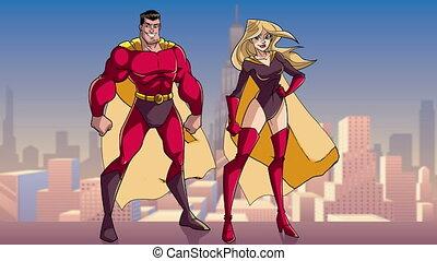 reputacja, miasto, para, superhero, wysoki