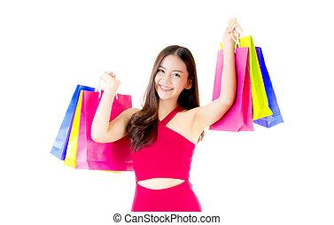 reputacja, mnóstwo, kobieta shopping, barwny, odizolowany, tło., asian, dzierżawa, portret, biały strój, podniecony, czerwony, szczęśliwy
