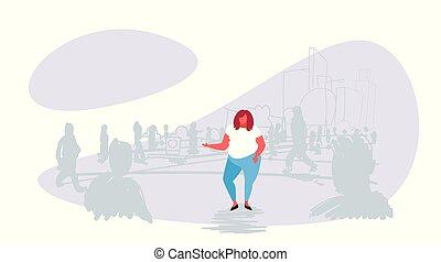 reputacja, nalany, różny, kobieta, tłum, ludzie, doodle, na, indywidualność, tłuszcz, sylwetka, pojęcie, tło, cityscape, dziewczyna, poza, rys, poziomy rozmiar