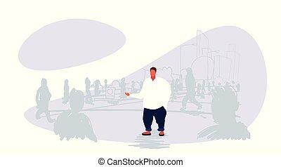 reputacja, nalany, różny, pojęcie, tłum, ludzie, doodle, na, poza, indywidualność, tłuszcz, sylwetka, tło, cityscape, facet, człowiek, rys, poziomy rozmiar