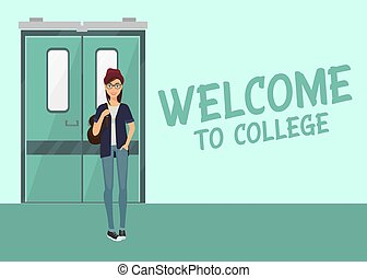 reputacja, oświatowy, illustration., samiczy student,...