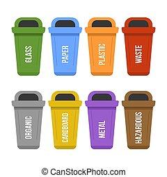 reputacja, odpadki, oddzielny, zbiór, wielobarwny, przerabianie surowców wtórnych, tracić, skrzynie