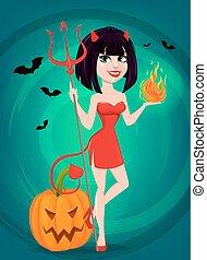 reputacja, ona-przysmażają, diabeł, halloween., pumpkin., jeden, trójząb, płomień, inny, sexy, dziewczyna, ręka