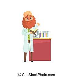 reputacja, płaski, brodaty, wektor, marynarka, odizolowany, pracownia, chemiczny, mikroskop, naukowiec, ilustracja, stół., próba balie, książka, hands., człowiek