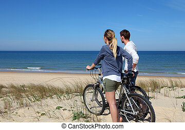 reputacja, para, bicycles, diuna, piasek
