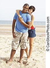 reputacja, para, plaża, romantyk, młody