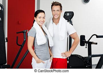 reputacja, para, sala gimnastyczna, młody, razem