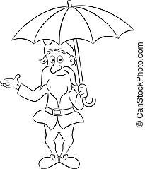 reputacja, parasol, gnom, pod, otwarty, rysunek, ogród