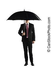 reputacja, parasol, handlowy, dzierżawa, człowiek