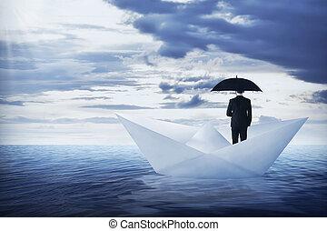 reputacja, parasol, handlowy, papier, asian, dzierżawa, łódka, człowiek