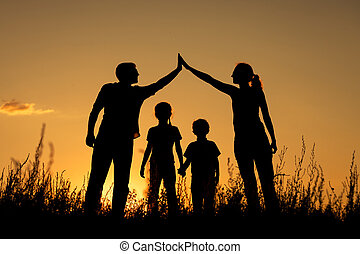reputacja, park., rodzina, szczęśliwy